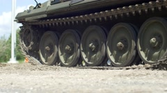 Tank tracks stopping up close Stock Footage