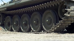 Tank tracks driving up close Stock Footage