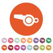 The whistle icon. Referee symbol. Flat - stock illustration