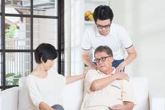Senior man shoulder pain Stock Photos