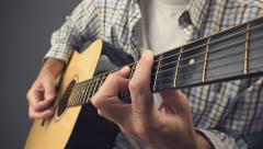 Man playing punk rock riff on acoustic guitar - stock footage