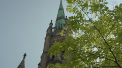 Establishing shot of a beautiful church in the city. 4K UHD. - stock footage