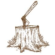 Axe and trunk Stock Illustration
