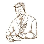 Man write the paper Stock Illustration