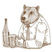 Bear drink Stock Illustration