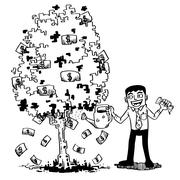 tree of money - stock illustration