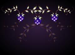 Pattern of blackberries on a purple base. EPS10 vector illustration - stock illustration