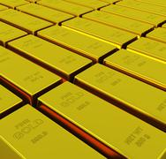 Gold ingots with depth of field Stock Illustration