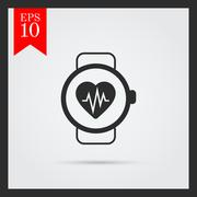 Heart rate monitor watch - stock illustration