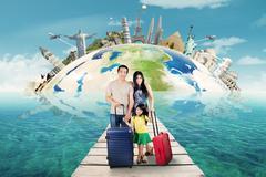 Family tour to the world monument - stock photo