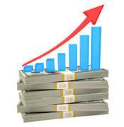 Graph on bundle of money Stock Photos