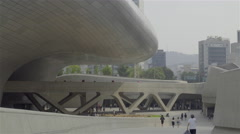 In front of DDP Dongdaemun design plaza Stock Footage