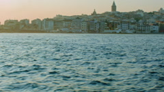 Ferry Ride In Bosphorus overlooking Galata with Seagulls Stock Footage