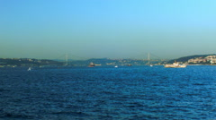 Bosphorus Ferry Ride seeing the Bridge Stock Footage