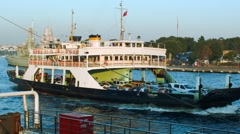 Ferry Passing by Istanbul Bosphorus Stock Footage