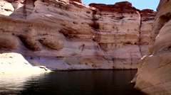 View from a Boat at the Lake Powell Canyons. HD 1080 Stock Footage