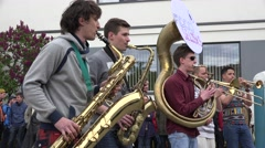 Joyful male musician band performance with wind instruments. 4K Stock Footage