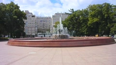 Fountain in Bolotnaya Square in Moscow. Taymlaps Stock Footage
