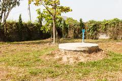 Underground cement cylinder of lavatory cesspit Stock Photos