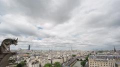 Paris skyline with gargoyle, Eiffel Tower, Paris, 4k Time Lapse Stock Footage