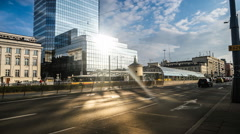 time lapse of road and buildings in Warsaw - stock footage