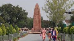 Jallianwala Bagh massacre Memorial, people walking to,Amritsar,Punjab,India Stock Footage
