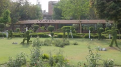 Jallianwala Bagh park with cultivated bushes,Amritsar,Punjab,India Stock Footage