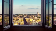 Rome cityscape skyline as seen from a window.mp4 Stock Footage