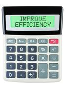 Calculator with IMPROVE EFFICIENCY - stock photo