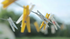 Clothes pin color Stock Footage