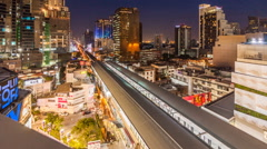 Timelapse of traffic at night ,bangkok thailand Stock Footage