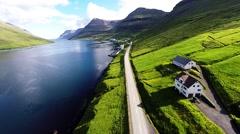 FAROE ISLANDS - Klaksvik - Drone flight from the highway to the cruise terminal Stock Footage