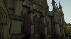 Establishing shot of a beautiful church in the city. 4K UHD. Stock Footage