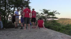 campers around a fire Red River gorge Kentucky - stock footage