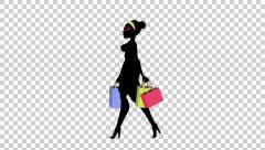 Fashion Girl Animated Character with Alpha channel - Shopping Walk Cycle 02 Stock Footage