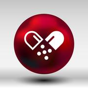 Pill icon tablet pain chemistry aspirin isolated Stock Illustration