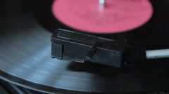 Record vinyl on turntable in vintage color tone Stock Footage