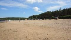 Krasnoyarsk reservoir Yenisei 04 Sand beach Stock Footage