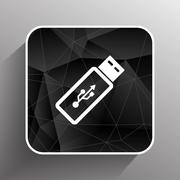 Stock Illustration of Vector usb flash drive icon on a grey flat button