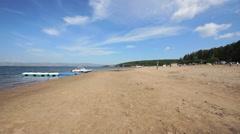 Krasnoyarsk reservoir Yenisei 05 Sand beach Stock Footage