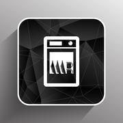 icon dishwasher dishe washer vector kitchen clean - stock illustration