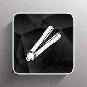 straightener icon hai outline white curl iron - stock illustration