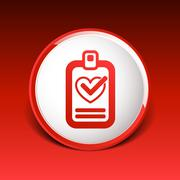 heart and tick icon health medical sign symbol - stock illustration