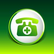 Emergency call sign icon vector fire phone number button. Stock Illustration