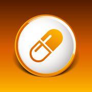 medical pain chemistry aspirin heap sickness simplistic icon - stock illustration