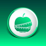 Vector Slimming apple icon slim weight diet Stock Illustration