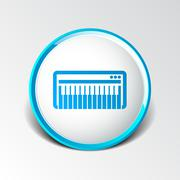 Black synthesizer keyboard piano music icon vector - stock illustration