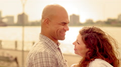 Close up couple embracing by Detroit River 4K Stock Footage