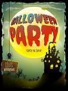 Halloween moonlight night background. EPS 10 - stock illustration