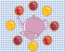 Tea and tarts Stock Illustration